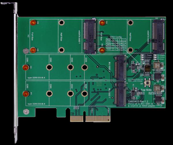 PCIe x4 M.2 SSD 2 Port & mSATA SSD 2 Port