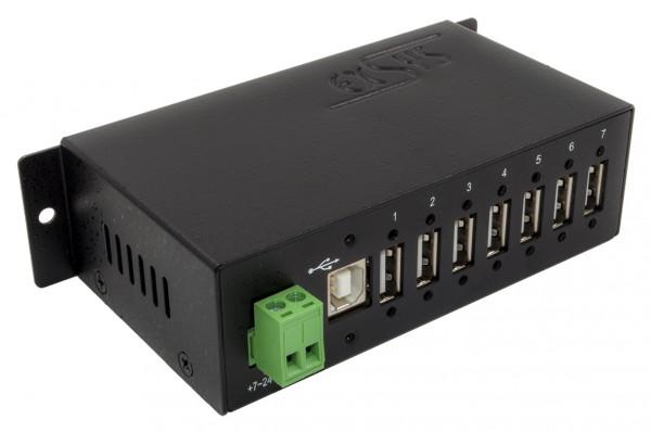7 Port USB 2.0 Metall HUB für Din-Rail, Kabel verschraubbar