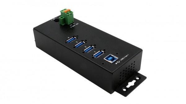 4 Port USB 3.2 Gen 1 HUB mit 15KV ESD Überspannungs-Schutz (Din-Rail Kit)
