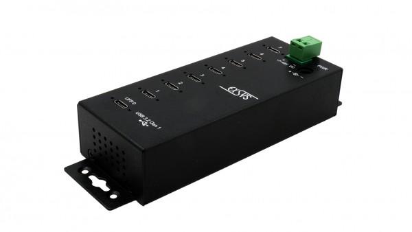 7 x C-Ports USB 3.2 Gen1 Metall HUB mit 15KV ESD Überspannungs-Schutz