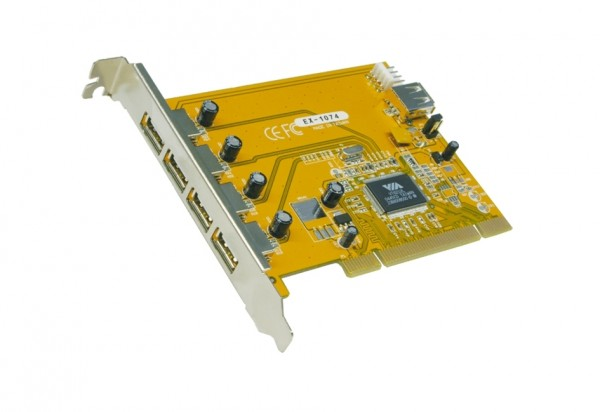 USB 2.0 PCI Karte mit 4+1 Ports (VIA Chip-Set)