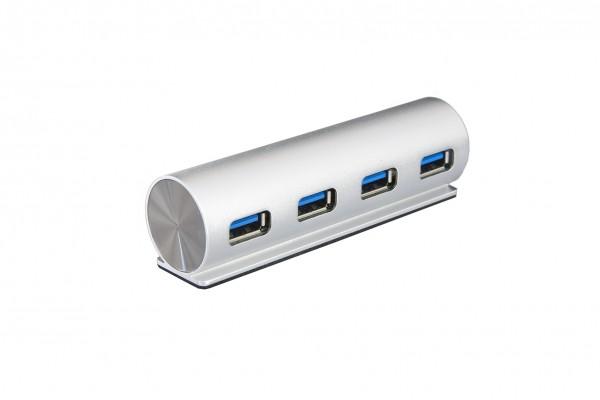 4 Port USB 3.2 Gen1 Metall HUB, mit elegantem runden Metall-Gehäuse