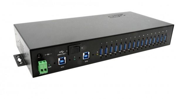 16 Port USB 3.2 Gen1 Managed HUB, inkl. Din-Rail