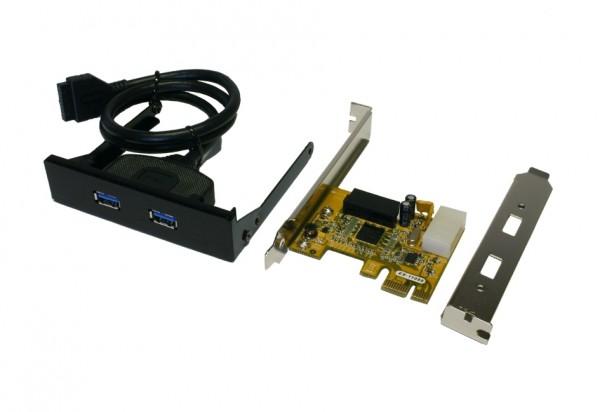 """USB 3.2 Gen1 PCIe Karte mit 2+2 Ports für 3.5"""" Front-Einbau"""