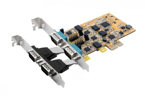 PCIe 4S Seriell RS-232/422/485, Surge (FTDI)