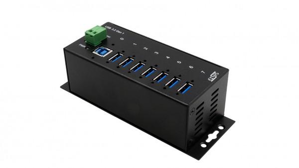 7 Port USB 3.2 Gen1 Metall HUB mit 15KV ESD Überspannungs-Schutz (Din-Rail)