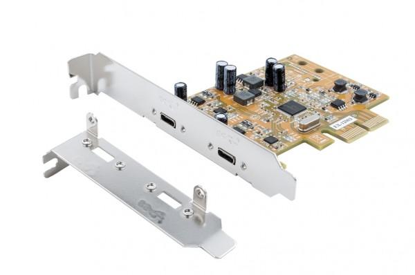 USB 3.1 Gen2 PCIe (x2) Karte mit 2 C-Ports
