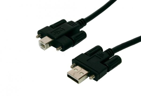 USB 2.0 Kabel A Stecker und B Stecker mit Rändelschrauben, 5 Meter