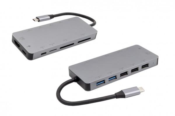 11 in 1 Ports USB 3.2 Gen1 Metall C-HUB für Notebook, Matebook und MacBook