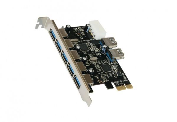 PCIe USB 3.2 Gen1 Karte mit 5+2 Ports (VIA)