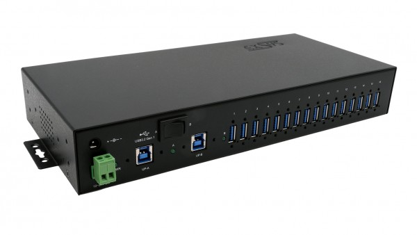 USB 3.2 Gen1 Metall HUB mit 16 Ports (Din-Rail), 15KV ESD Überspannungsschutz