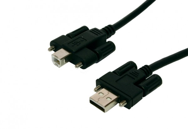 USB 2.0 Kabel A Stecker und B Stecker mit Rändelschrauben, 2.0 Meter