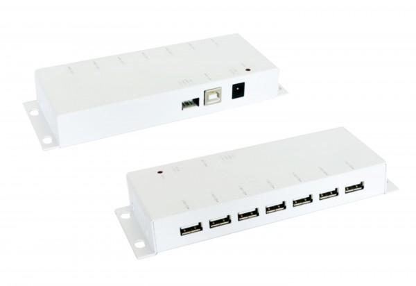 7 Port USB 2.0 Metall HUB, Weiss