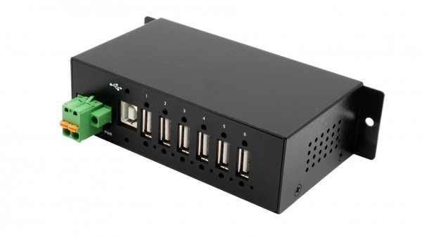 6 Port USB 2.0 Managed HUB, inkl. Din-Rail