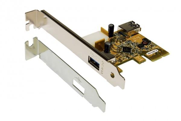 PCIe USB 3.2 Gen1 Karte mit 1+1 Ports (Renesas)