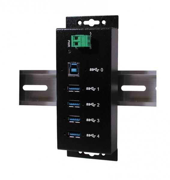 4 Port USB 3.0 Metall HUB, inkl. Din-Rail, 1.5A