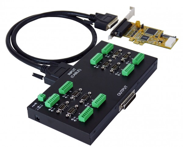 PCIe 8S Seriell RS-232/422/485 Module, 2.5KV Opto.