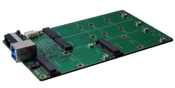USB 3.1(Gen2) zu je 2 x M.2 & mSATA SSD Karte