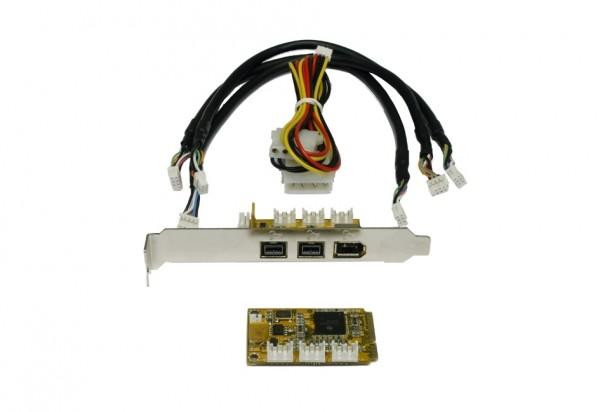 Mini PCIe FireWire B Karte mit 3 Ports (TI)