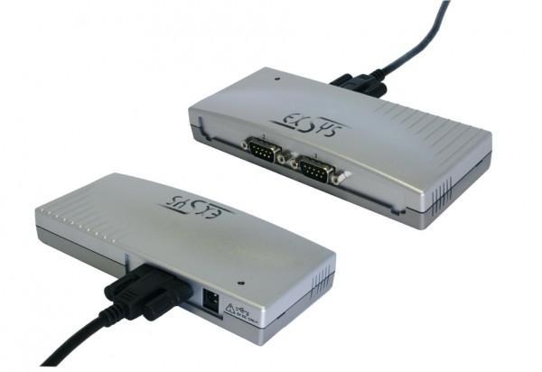 USB zu 2S Seriell RS-232, Plastik-Gehäuse und Kabel verschraubbar (FTDI Chip-Set)