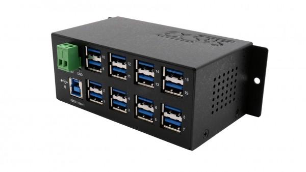 16 Port USB 3.2 Gen1 Metall HUB mit 15KV ESD Überspannungsschutz