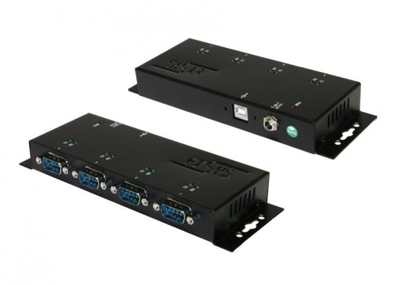 USB 2.0 zu 4S RS-232, Verschraubbar, Metall, FTDI