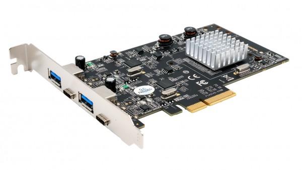 4 Port USB 3.2 Gen2 PCIe (x4) Karte mit 2x A– und 2x C™ Anschluss (Asmedia)