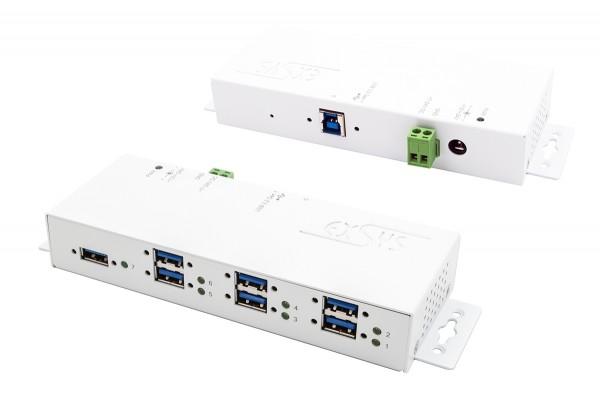 7 Ports USB 3.2 Gen1 weiβer Metall HUB mit 15KV Überspannungs-Schutz