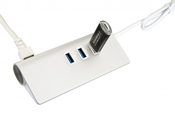USB 3.2 Gen1 HUB mit 3x USB Ports und 1x Ethernet 1Gigabit LAN (C-Stecker)