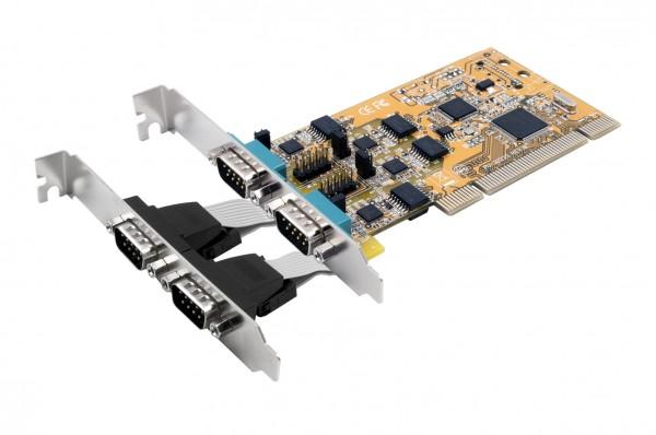 4S Seriell RS-232/422/485 PCI Karte, Surge Protection & Optical Isolation (FTDI Chip-Set)